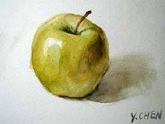 Free  watercolor lesson - Painting a yellow apple.