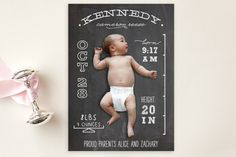 Chalkboard Stats Birth Announcement Postcards by Unless Someone Like You at minted.com