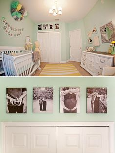Black and white photos above the closet.love this great way to use wasted space! Have to do this!!