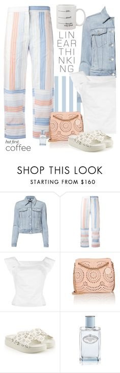 """""""Linear Thinking!"""" by butterflykate88 ❤ liked on Polyvore featuring J Brand, STELLA McCARTNEY, Vivienne Westwood Anglomania, Simone Rocha, Prada and coffeebreak"""