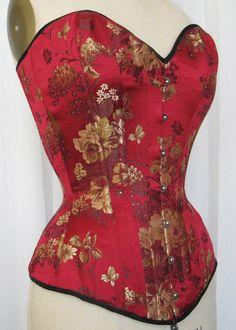 red brocade corset