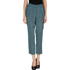 Liu •jo Casual Trouser ($36) ❤ liked on Polyvore featuring pants, turquoise, high waisted zipper pants, high-waist trousers, straight leg pants, high-waisted pants and high waisted trousers