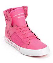 Supra Kids Skytop Pink Leather Skate Shoe