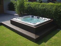 Backyard hot tub patio jacuzzi Ideas for 2020 Hot Tub Backyard, Hot Tub Garden, Small Backyard Pools, Backyard Patio Designs, Backyard Ideas, Jacuzzi Patio Ideas, Jacuzzi Outdoor Hot Tubs, Sloped Backyard, Small Pools