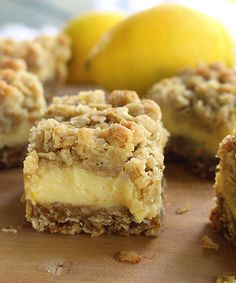 These light and refreshing Creamy Lemon Crumb Bars are the perfect dessert on a hot summer day! Lemon Desserts, Lemon Recipes, Easy Desserts, Sweet Recipes, Baking Recipes, Cookie Recipes, Delicious Desserts, Dessert Recipes, Yummy Food