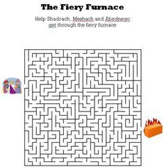 www.kidsbibleworksheets.com-The Fiery Furnace bible maze for kids.