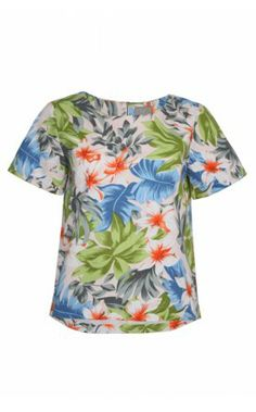 This stunning structured cotton-mix short sleeve Hardy Top is the perfect tropical Summer print to update your wardrobe this SS14. The statement flower design is inspired by the Wakiki beach in Honolulu in beautiful colours of blues, greens and oranges gives an instant boost to any outfit. http://www.donnaida.com/tops/printed-tops/pyrus-hardy-top-wakiki.html #pyrus #ss14 #flower #print #donnaida #tee