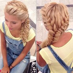 Two side french fishtail braid