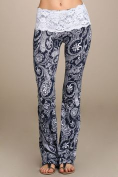 PRE-ORDER Womens Navy Blue Paisley Print Lace Band Bootcut Pants