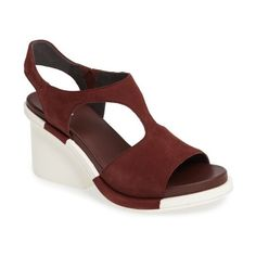 Women's Camper Ivy Block Heel Sandal ($195) ❤ liked on Polyvore featuring shoes, sandals, burgundy leather, slingback platform sandals, camper shoes, t strap sandals, cut out sandals and burgundy sandals
