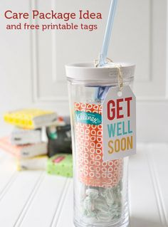 What a sweet gift this would make for someone who needs it! Get Well Soon Care Package Ideas and Free Printable Get Well Soon Tags from Polka Dot Chair