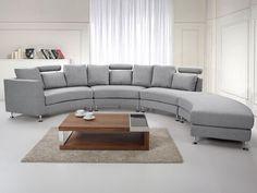 7 Seater Curved Fabric Modular Sofa Light Grey ROTUNDE - Beliani.co.uk