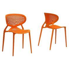 Neo Plastic Modern Dining Chair - Orange (Set Of 2) - Baxton Studio : Target