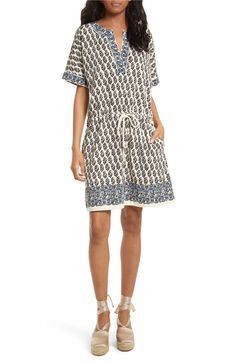 Main Image - Tory Burch Amara Print Cotton Drawstring Dress