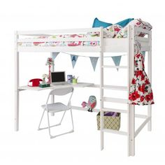 White High Sleeper Cabin Bed With Desk