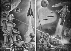 Retro futurism back to the future tomorrow tomorrowland space planet age sci-fi pulp flying train airship steampunk dieselpunk alien aliens martian martians BEMs BEM's robot robots cyborg cyborgs jetpack jetpacks rocket rocketman