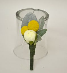 Yellow and White Boutonniere  Billy Button by blueorchidcreations, $14.00