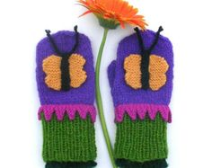 Butterfly Mittens - Colorful, Warm and Wonderful - child's size: 5-6 year old