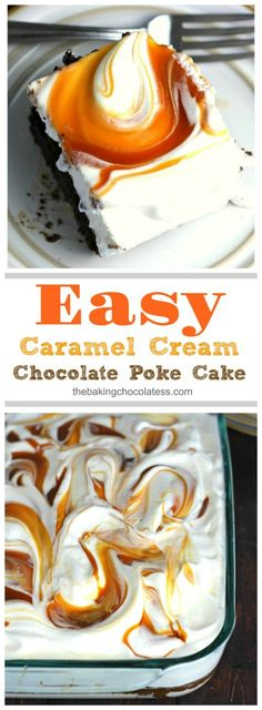 Easy Caramel Cream Chocolate Poke Cake - This caramel soaked chocolate cake is so lush and delicious. The whipped cream topping gives it a lightness with swirls of infused caramel sauce heaven. It will literally melt in your mouth. It'll have your tongue waggin' for more!