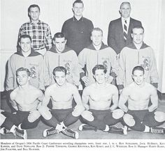 1955-56 Oregon wrestling team. Among the team was Ken Kesey, world-famous author and UO professor. From the 1956 Oregana (University of Oregon yearbook). www.CampusAttic.com