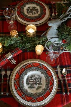 Charming Cozy Rustic Christmas-Reindeer Sleigh Tartan Christmas Table and Centerpiece. Tartan Christmas, Christmas China, Plaid Christmas, Country Christmas, Christmas Home, Christmas Holidays, Merry Christmas, Xmas, Purple Christmas