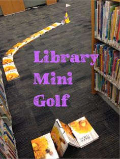 Golf at the Library! Awesome idea with great step-by-step directions that make it easy to recreate. Must do for Finishing Well.Awesome idea with great step-by-step directions that make it easy to recreate. Must do for Finishing Well. Library Games, Teen Library, Library Events, Library Activities, Activities For Teens, Elementary Library, Library Lessons, Library Books, Library Ideas