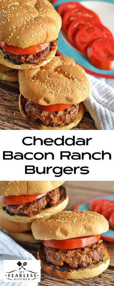 Cheddar Bacon Ranch Burgers from My Fearless Kitchen & Alarm Clock Wars. Take your burgers to the next level with these Cheddar Bacon Ranch Burgers. They are simple to make, but packed with so much flavor, everyone will love them! Tailgating Recipes, Grilling Recipes, Beef Recipes, Cooking Recipes, Cooking Tips, Oven Burgers, Ranch Burgers, Gourmet Burgers, Ranch Burger Recipes