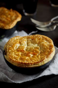 Chicken, corn and bacon pot pies - Ah, the beauty of a beautifully topped pot pie.