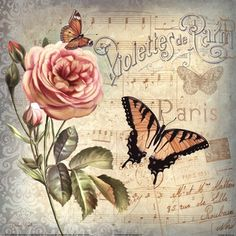 MY TRUNK decoupage: Pink rose, butterflies, French, on light blue-gray. Images Vintage, Art Vintage, Vintage Ephemera, Vintage Cards, Vintage Paper, Vintage Prints, Vintage Pictures, Vintage Ideas, Shabby Vintage