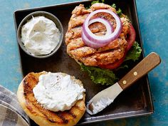 Everything Salmon Burgers with Scallion Sour Cream-Cream Cheese Sauce Recipe : Rachael Ray : Food Network - FoodNetwork.com