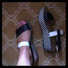 Chunky Zara platforms! White and black patterned leather Zara platforms with 2.5 inch height. Size Eur 41, will fit a 10.5 as well. White and black straps. Very trendy! Well loved, underside is pretty new.Loved these so much, I bought a size up. ☺️ Zara Shoes Platforms