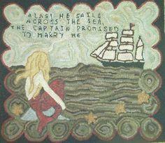 Mermaid rug hooked by me