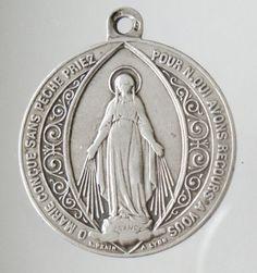 Vintage Catholic Mary Sterling Silver French by CherishedSaints, $76.00