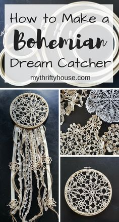 How to Make a Bohemian Dream Catcher with embroidery hoops and crocheted doilies. #DIYArtsandCrafts Dream Catcher Boho, Dream Catcher Bedroom, Dream Catcher Wedding, Dream Catcher Craft, Lace Dream Catchers, Dream Catcher Patterns, Diy Dream Catcher Tutorial, Bohemian Crafts, Boho Diy