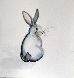 Watercolour paintings – Sitting rabbit Original watercolor painting – a unique…