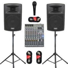 """1 Pair New Karaoke PA DJ Band 10"""" Pro Audio Powered Active Speakers, Mixer, Stands, Cables and Mic PP1003ASET by Podium Pro Audio. $529.99. Specifications10"""" Pro Audio Powered Speaker Set1 Brand New Pair of PP1003A 2-Way Powered Speakers500 Watts RMS per pair & 1000 Watts Max per pairSensitivity is 100dB with 28-20,000 Hz Frequency ResponseHeight 20.75"""" x Width 13.5"""" x Depth 13"""" per Speaker32 Pounds per Speaker1 Brand New Podium Pro Audio MX1204 MixerUltra-compact 12-channel..."""