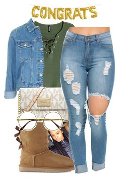 """"" by itssaiv0y ❤ liked on Polyvore featuring H&M, Topshop, MICHAEL Michael Kors, UGG and Retrò"