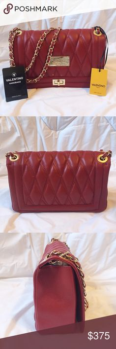 """Valentino by Mario Valentino Alice Red Prim and petite bag shaped in quilted leather. Can be a shoulder or crossbody bag. Leather and chain link strap, 11"""" drop with gold hardware. Fold over flap with twist closure. Gold tone name plate. Two inside pockets. One inside card pocket. Full lined. Authenticity card included. Dust bag included. 11"""" x 6.5"""" x 3"""" Made in Italy. NO TRADES Valentino Bags Shoulder Bags"""
