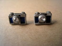 Camera Earrings Studs (Blue)