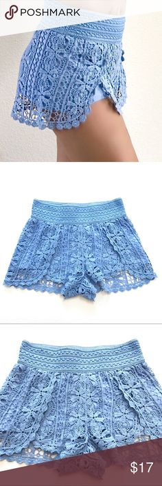 """Topshop Scallop Crochet Shorts Slightly worn but still in good condition. Details---obsession with crochet isn't going anywhere - style these shorts with a bardot top for an authentic boho feel. Detailed with a playful scallop hem and elasticated waistband. 100% Cotton. Machine wash. Size 2. Lay Flat Measurement; inseam-2"""". Outseam-12 3/4"""". Waist-13"""". Rise-11"""". No Trades. No low ball offers. #L0416 Topshop Shorts"""