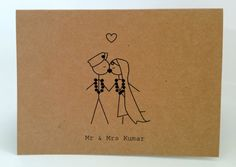 20 Customised Traditional Indian Wedding/Engagement Thank you cards/invitations. Kissing mr & mrs (printed).