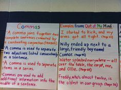 Comma Anchor Chart with examples 2nd Grade Grammar, Grammar And Punctuation, Teaching Grammar, Teaching Writing, Word Study, Word Work, School Resources, Teaching Resources, Teaching Ideas