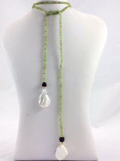 Peridot Lariat Necklace with Black Spinel and Large Flat Baroque Pearls