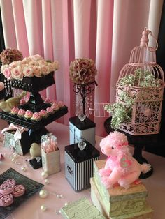 Cute poodle on this dessert table! #pink #poodle #paris #desserttable #party