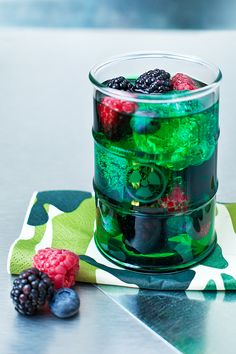 Hulk:  1/3 Diluted Mint Syrup  1/3 Vodka  1/3 Fresh Berries