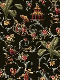 Wallpaper Mandarin Prose pattern WA7769. Keywords describing this pattern are Waverly, Asian, Asian Art, Oriental, oriental garden, acanthus.  Colors in this pattern are Black, Dark Gray.  Alternate color patterns are WA7770;Page:94;WA7771;Page:18;WA7772;Page:56.  Product Details:  prepasted  strippable  washable  Material is UNKNOWN. Product Information:  Book name: Waverly Classics Pattern name: Mandarin Prose Pattern #: WA7769 Pattern Length: 13 1/2 inches.  Pattern Length: 27 0 inches.