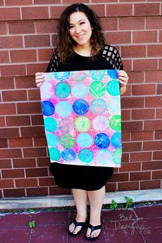 Balzer Designs Blog: Round Gelli Plate + Stamps  And here's a ginormous piece of paper I did in color, using the same technique from the video: