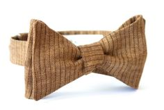 Brown Linen with Dark Brown Stripes. Check out our new bow tie concept here!