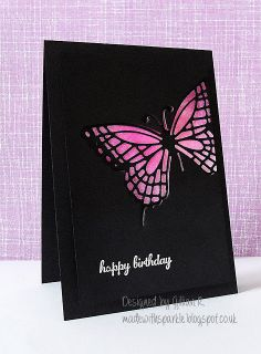 handmade birthday card ... black card base and panel ... die cut butterfly with bright pink sparkly embossing ... luv it!!