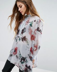 Religion Sheer Collarless Shirt In Floral Print
